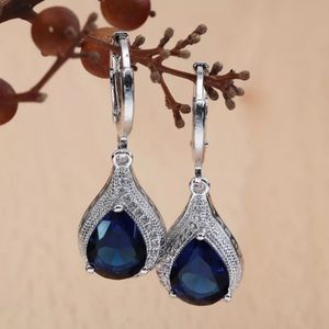 BLUE SAPPHIRE & DIAMOND DROP HOOP EARRINGS